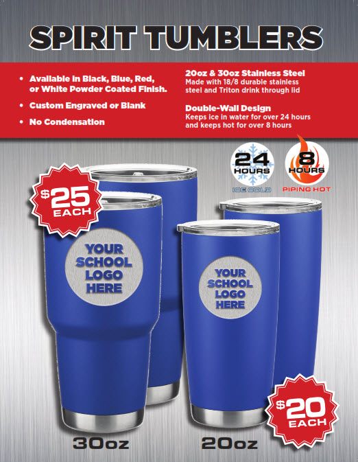 Custom Spirit Tumblers Front Page
